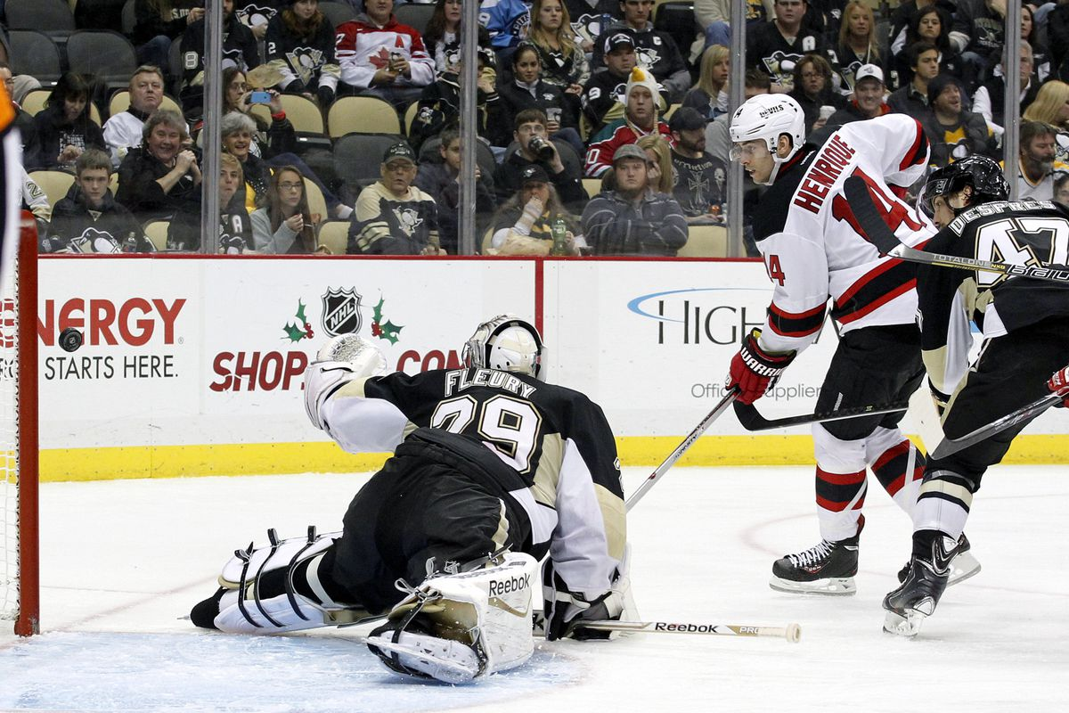 Pictured: The third time Marc-Andre Fleury was beaten tonight.  Except Adam Henrique hit the post.