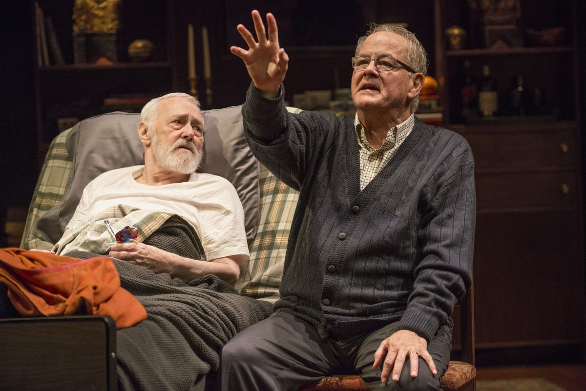 """Ensemble members John Mahoney (left, as Simon) and Francis Guinan (as Henry) in Steppenwolf's Chicago premiere production of """"The Rembrandt."""" 