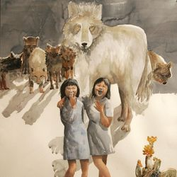 """Artwork by Lily Havey titled """"Nightmare,"""" in the Watercolor Santa Anita & Amache Series in collection of Center for Documentary Arts."""