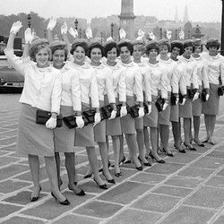 """Pierre Balmain's designs for TWA in 1965. Photo via <a href-""""http://style.time.com/2012/08/07/virgin-americas-new-uniforms-a-75-year-history-of-fashion-in-flight/slide/twa-1965/"""">Time.</a>"""
