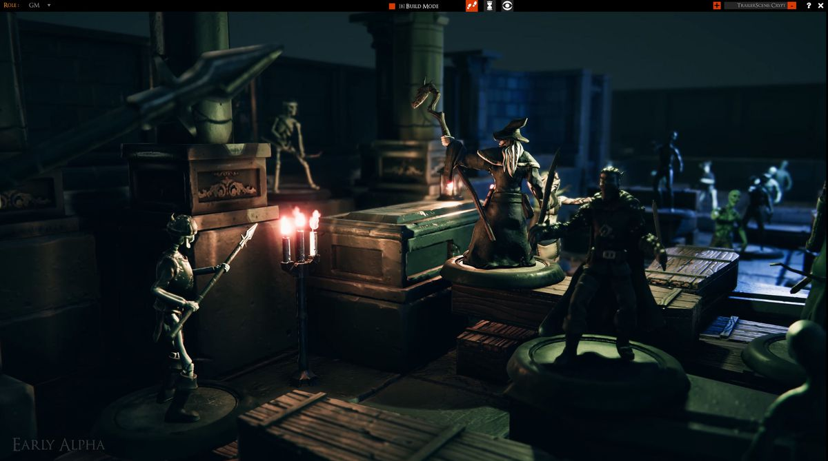 A group of adventurers in a tomb inside an early alpha of Bouncyrock's TaleSpire virtual tabletop software.