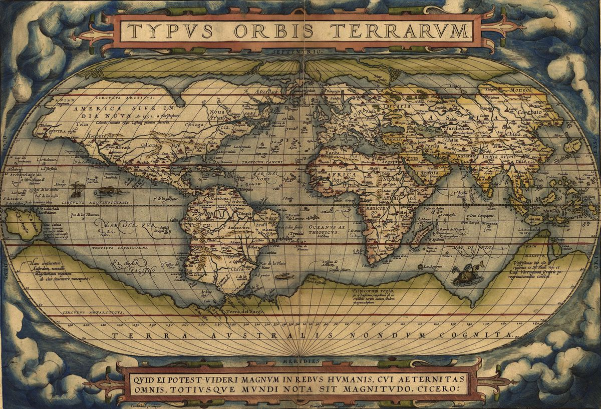 Abraham Ortelius's 1564 map of the Earth.