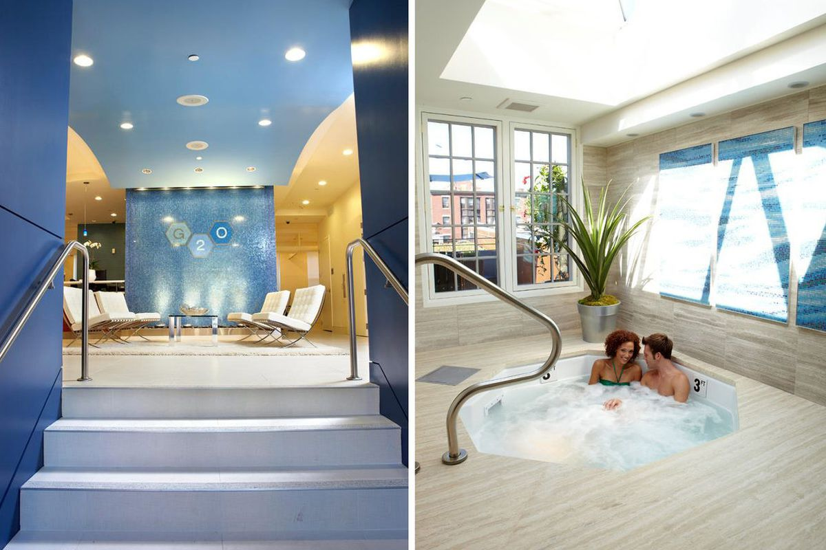 "The lobby and sky-lit hot tub at G2O; via <a href=""https://www.facebook.com/media/set/?set=a.275904850087.324851.275899805087&amp;type=3"">Facebook</a>"
