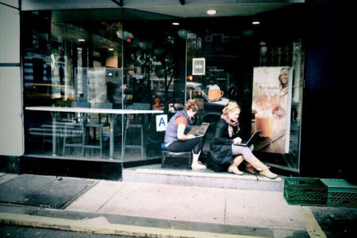 """Closed Starbucks squatters, NYC. [Photo: <a href=""""https://twitter.com/MicahMcCain/status/262946888620326912"""">@MicahMcCain</a>]"""