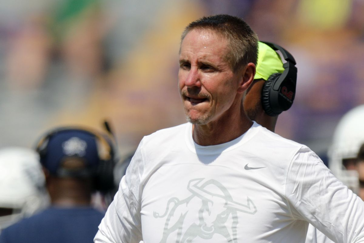 Utah State Aggies head coach Gary Anderson looks on against LSU Tigers on October 5, 2019 at the Tiger Stadium in Baton Rouge, LA.