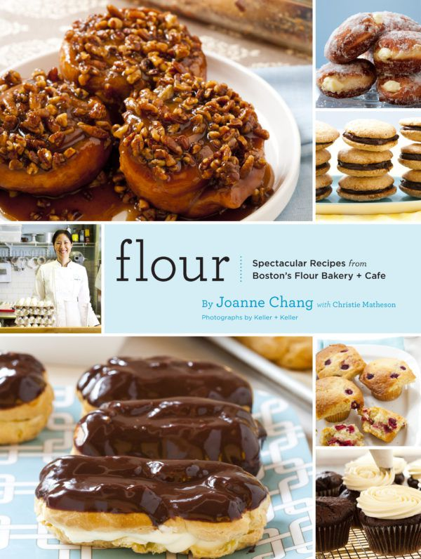 Cookbook cover for Flour by Joanne Chang. It features a collage of pastry photos, including sticky buns, eclairs, cupcakes, and more, as well as a photo of Chang.