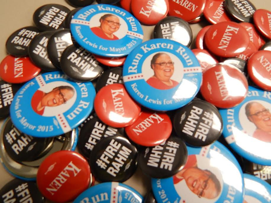 Buttons that a Karen Lewis spokeswoman in 2014 said were being created by union members and other supporters who want the CTU president to run for mayor.