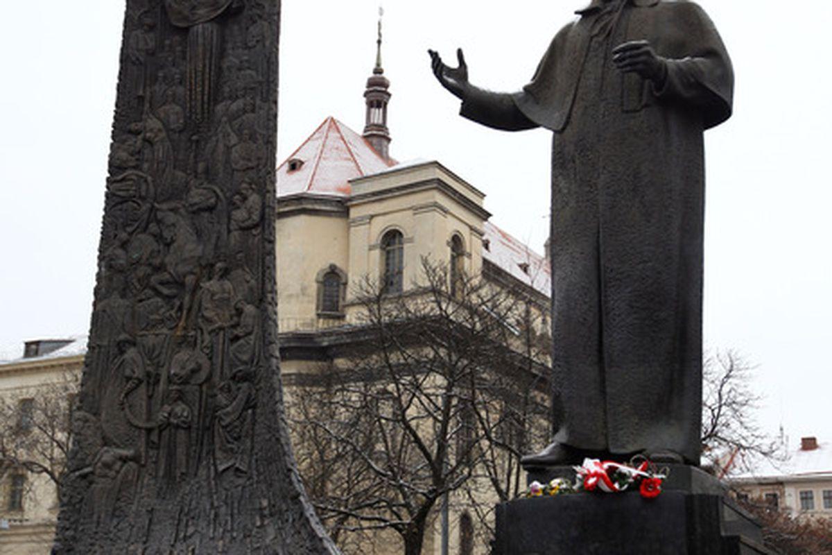 Ukrainian poet and legend Taras Shevchenko says DON'T BRING THAT WEAK SCANSION IN HERRRRE, SON. (Photo by Richard Heathcote/Getty Images)