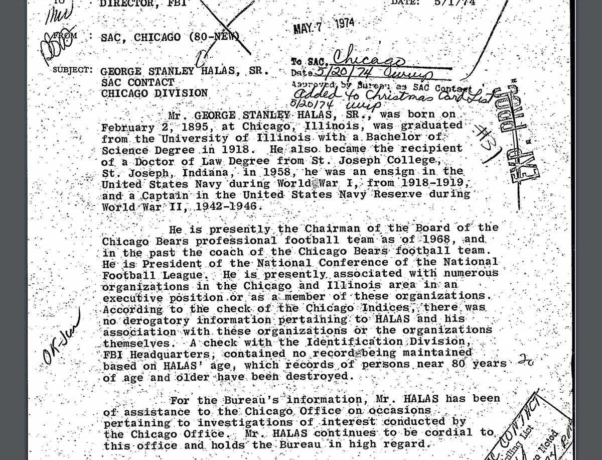 An FBI memo from 1974 that mentions Bears owner George S. Halas helping the agency.