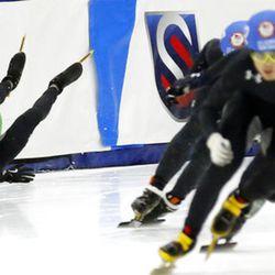 J.R. Celski (101) crashes during the men's 1000-meters A final race at the U.S. Olympic short track speedskating trials Sunday, Dec. 17, 2017, in Kearns, Utah. (AP Photo/Rick Bowmer)