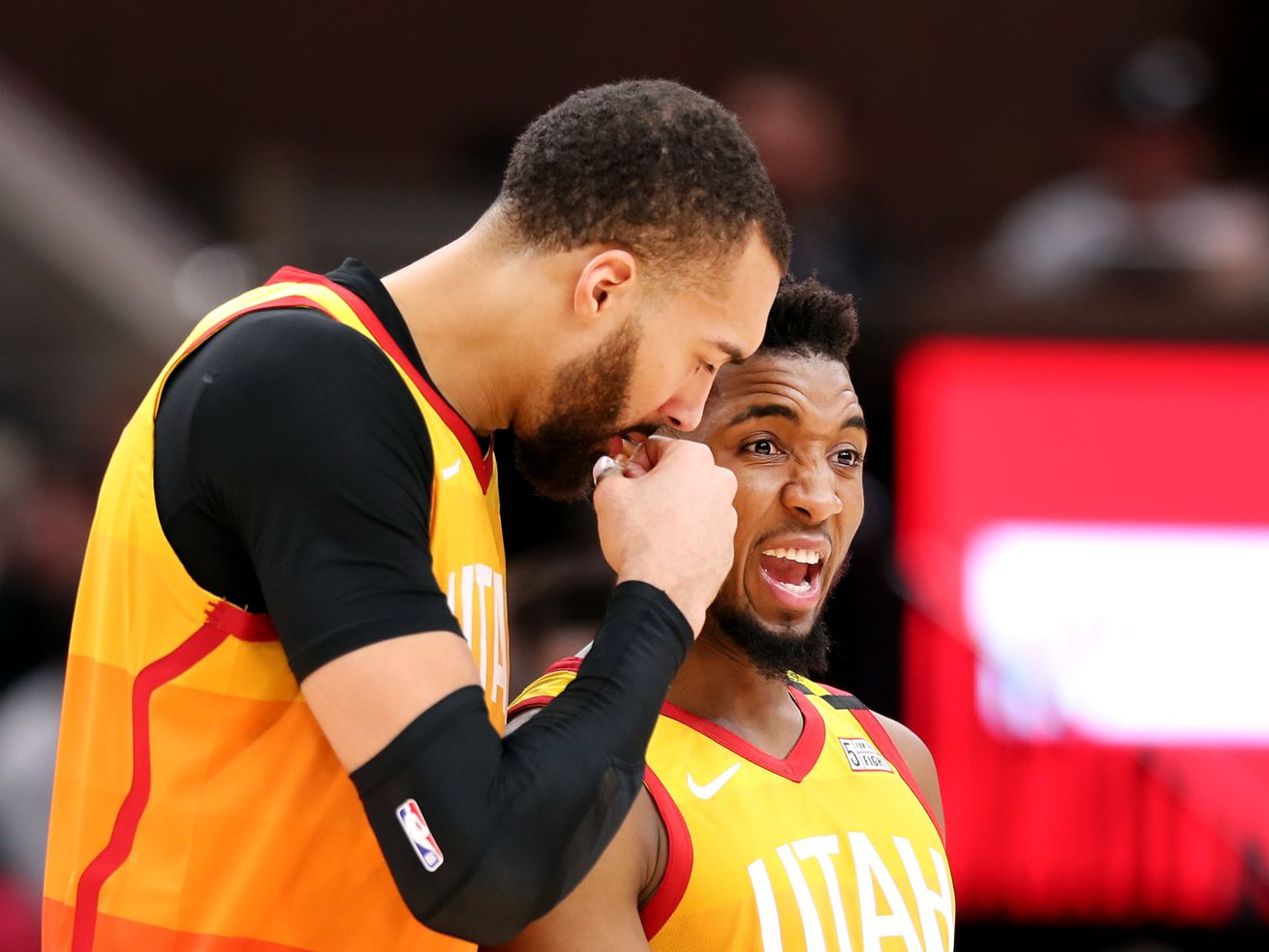 Utah Jazz center Rudy Gobert (27) and Utah Jazz guard Donovan Mitchell (45) talk after a timeout as the Utah Jazz and the Miami Heat play in an NBA basketball game at Vivint Smart Home Arena in Salt Lake City on Wednesday, Feb. 12, 2020. Utah won 116-101.