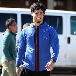 Yu Darvish arrives at Salt River Fields, the Spring Training home of the Arizona D'Backs and Colorado Rockies, to visit his former Japanese team, the Hokkaido Nippon-Ham Fighters, who are spend part of their Spring Training in Scottsdale, AZ.   John Antonoff/For the Sun-Times