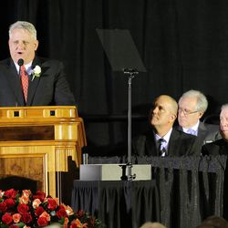 Jimmy Edwards talks about his father at a memorial for former BYU football coach Lavell Edwards at the Provo Convention Center on Friday, Jan. 6, 2017.