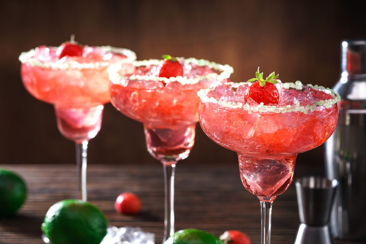 Freshly made strawberry margaritas are ready to be served.