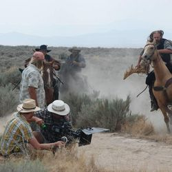 """A camera crew films a scene from T.C. Christensen's movie, """"Ephraim's Rescue."""" The movie premieres May 31."""