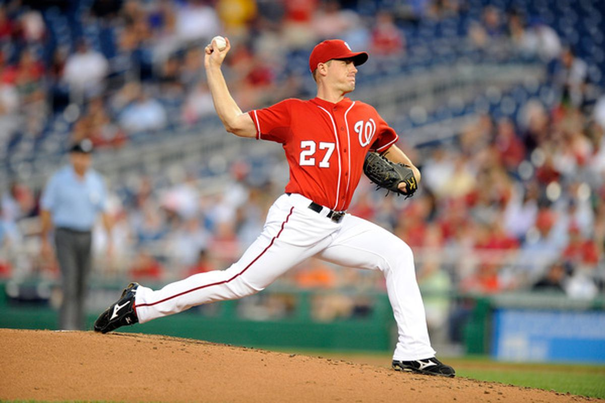 WASHINGTON - AUGUST 26:  Jordan Zimmermann #27 of the Washington Nationals pitches against the St. Louis Cardinals at Nationals Park on August 26 2010 in Washington DC.  (Photo by Greg Fiume/Getty Images)