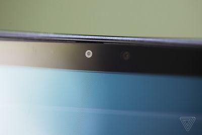 The Samsung Galaxy Book Pro 360 webcam seen up close.