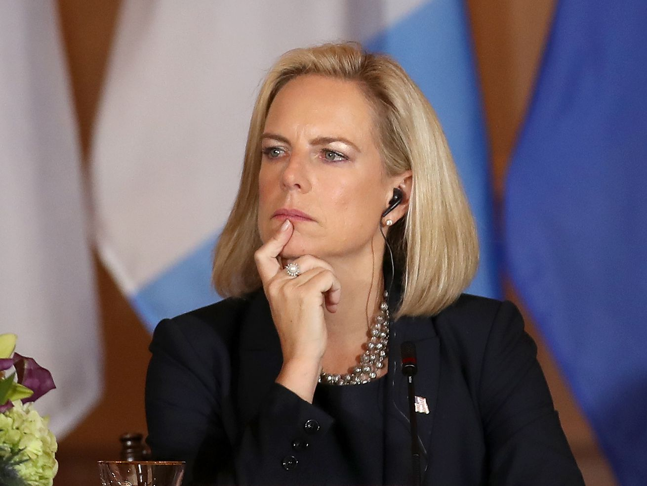 Homeland Security Secretary Kirstjen Nielsen looks on during the Conference for Prosperity and Security in Central America on October 11, 2018, in Washington, DC.
