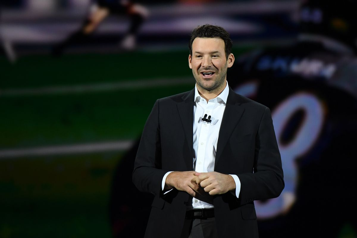 CBS sports analyst Tony Romo speaks during a keynote address by Intel Corp. CEO Brian Krzanich at CES 2018 at Park Theater at Monte Carlo Resort and Casino in Las Vegas on January 8, 2018 in Las Vegas, Nevada.