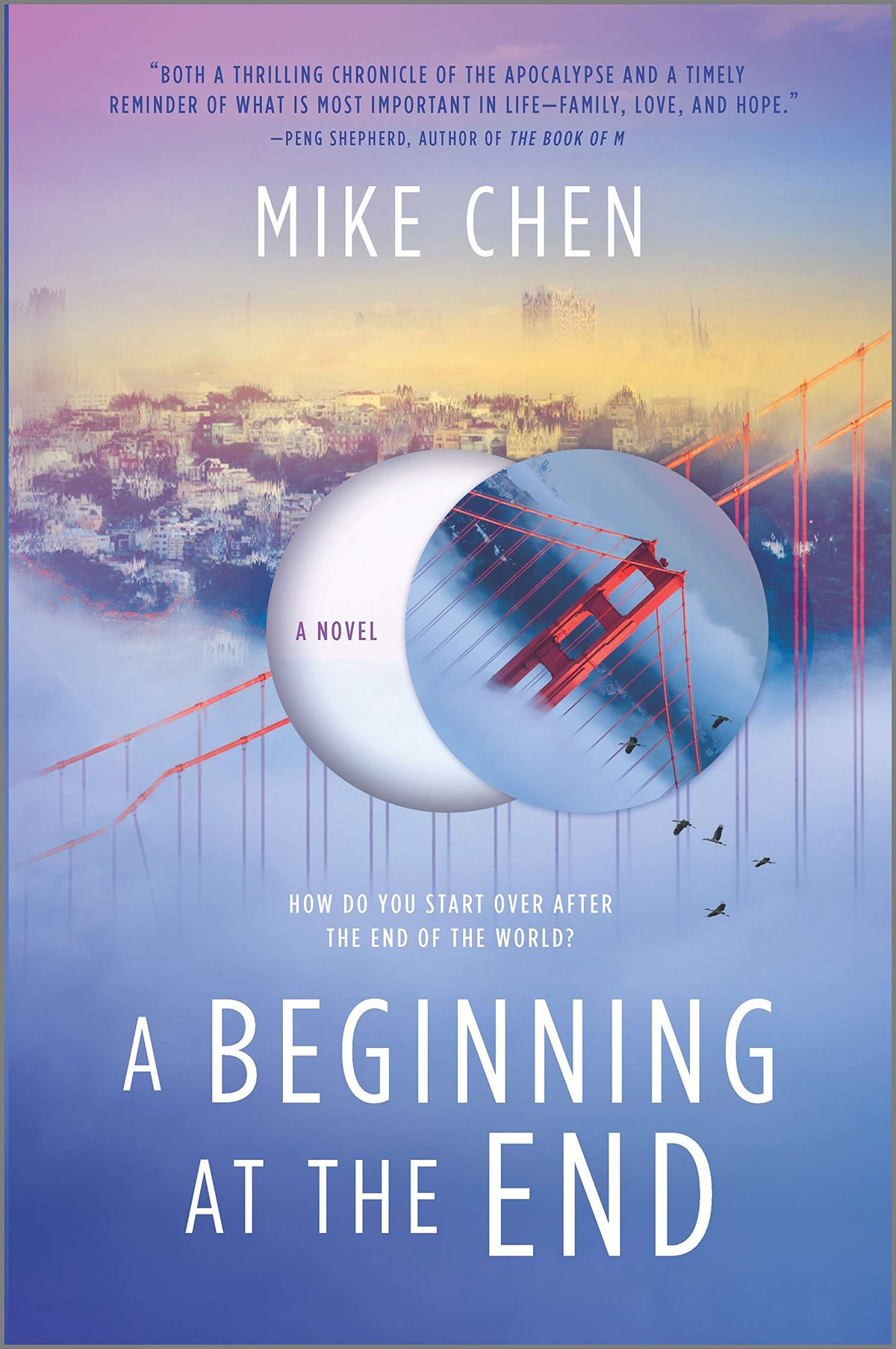 a beginning at the end book cover has a collapsing golden gate bridge