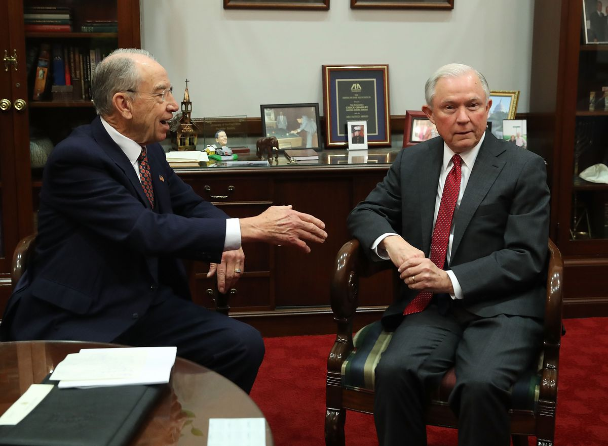 Senate Judiciary Committee chairman Chuck Grassley meets with Attorney General nominee Jeff Sessions.