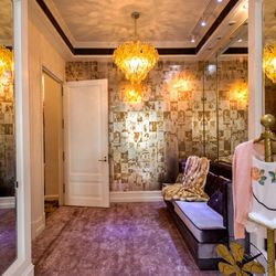 The decadent dressing room area.