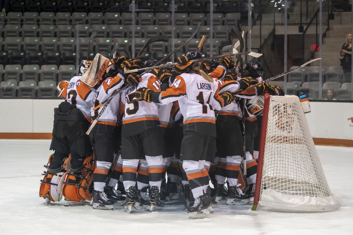 The RIT Women's Hockey team embraces after the RIT vs. Mercyhurst game on Jan. 18, 2019 at Gene Polisseni Center in Henrietta, N.Y. RIT defeated Mercyhurst 4-2.