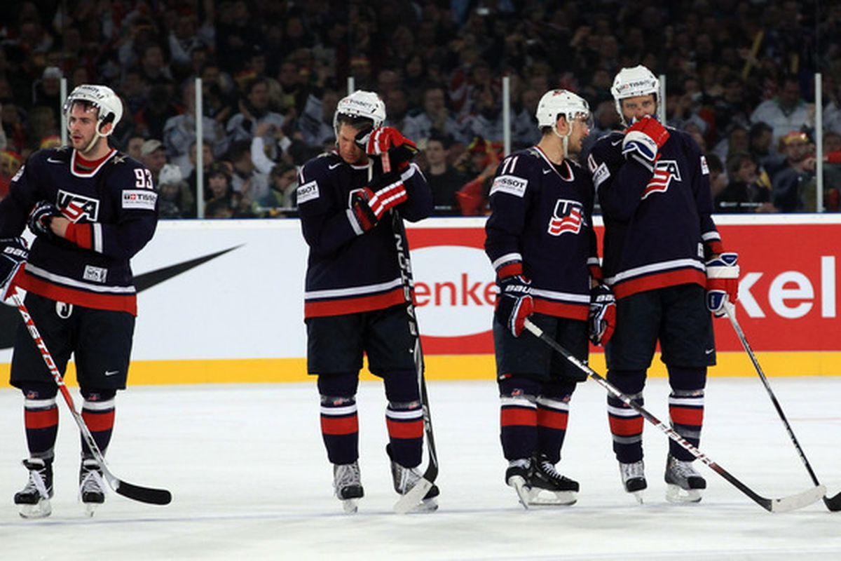 GELSENKIRCHEN, GERMANY - MAY 07: The team of USA look dejected after the IIHF World Championship group D match between USA and Germany at Veltins Arena on May 7, 2010 in Gelsenkirchen, Germany. (Photo by Martin Rose/Bongarts/Getty Images)