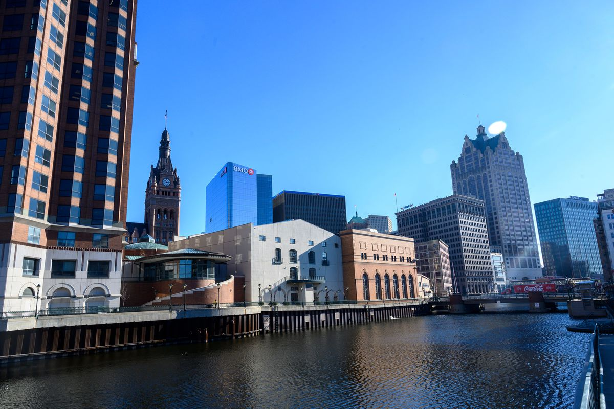 The Tower of the City Hall (background) is seen in downtown Milwaukee, Wisconsin, on January 7, 2020.