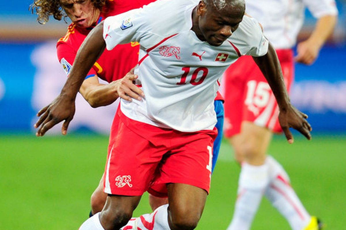 Although he didn't have much to show for his efforts statistically, Blaise Nkufo played a significant role in Switzerland's upset of Spain during the World Cup.