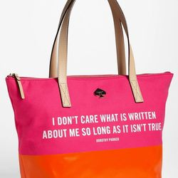 """Bright colors, roomy inside, and cheeky message — if there's a more perfect beach/pool bag out there, we have yet to find it.  <a href=""""http://shop.nordstrom.com/S/kate-spade-new-york-call-to-action-small-coal-tote/3493444?origin=category-personaliz"""