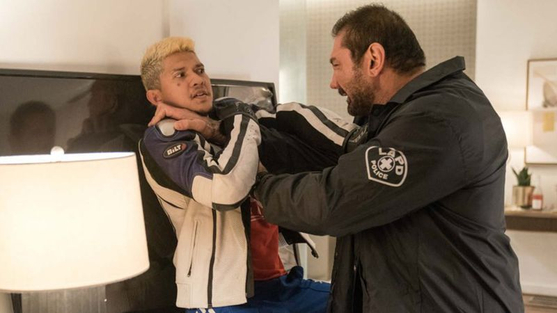 Iko Uwais and Dave Bautista in Stuber.