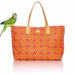 Tory Burch Geometric-Print Canvas Tote Bag, Pink/Orange, $295