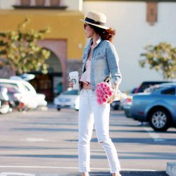 """Hallie of <a href=""""http://www.halliedaily.com""""target=""""_blank"""">Hallie Daily</a> is wearing a vintage jacket, J Brand jeans, Dior shoes, Topshop top, an H&M hat and Saint Laurent sunglasses."""