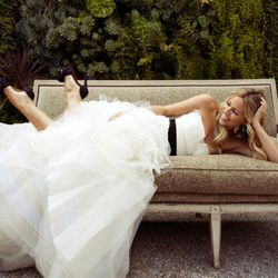 """""""Trying on wedding dresses was really fun for me and it was really hard to narrow it down to just one winner, but when I slipped on the Fawn dress by Vera Wang I knew she was the one. I wanted something that felt classic, but also high fashion since I wor"""