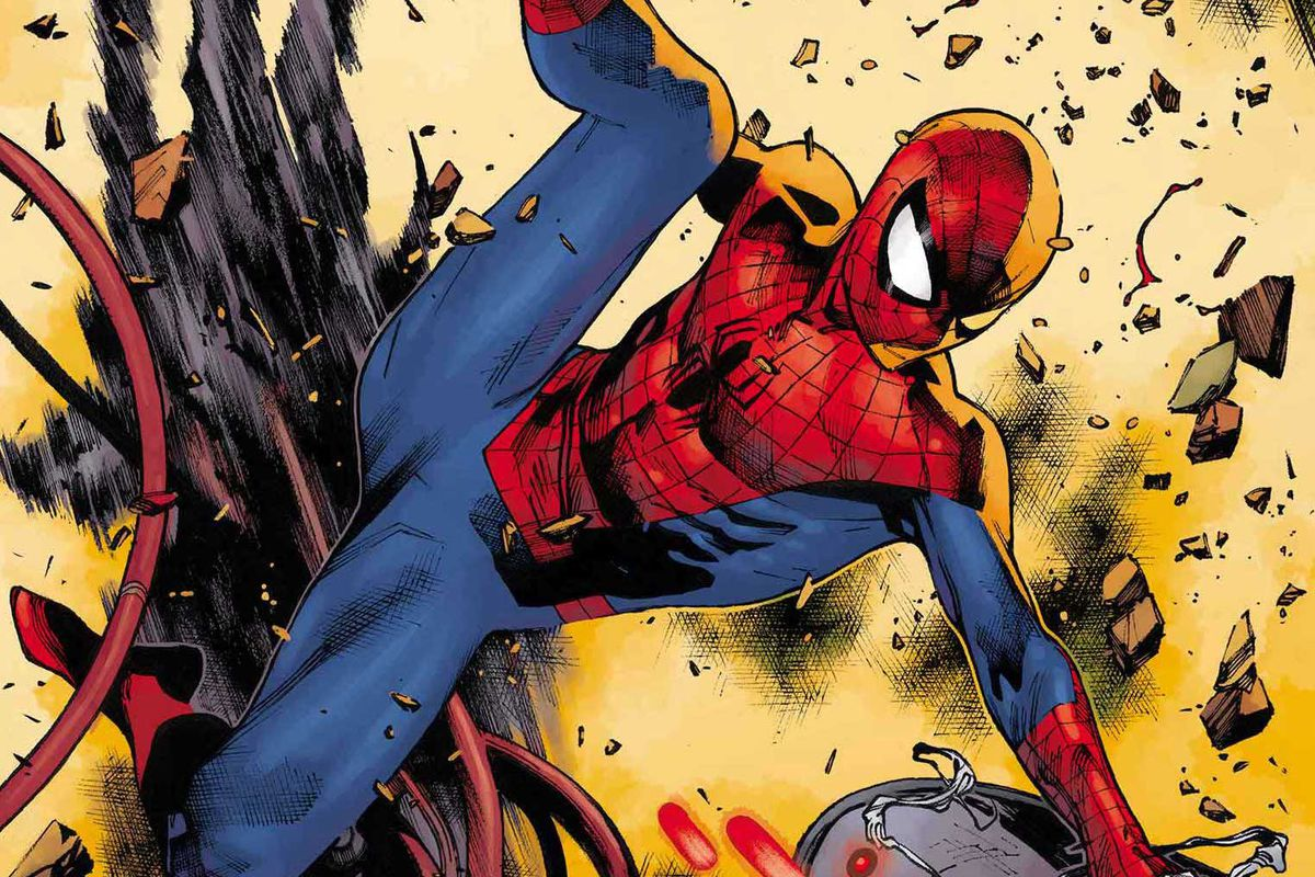 Spider-Man swings into battle against Cadaverous in the cover to Spider-Man #2 (2019)