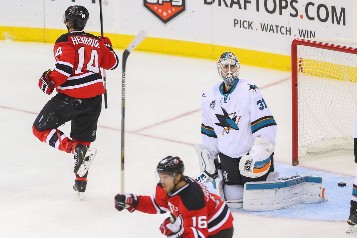 Pictured: Proof the Devils scored a goal on one of the league's hottest goalies, Martin Jones.