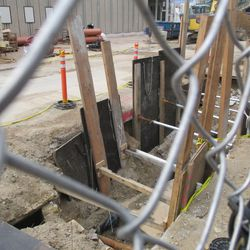 View of ongoing utility work on the Sheffield curb