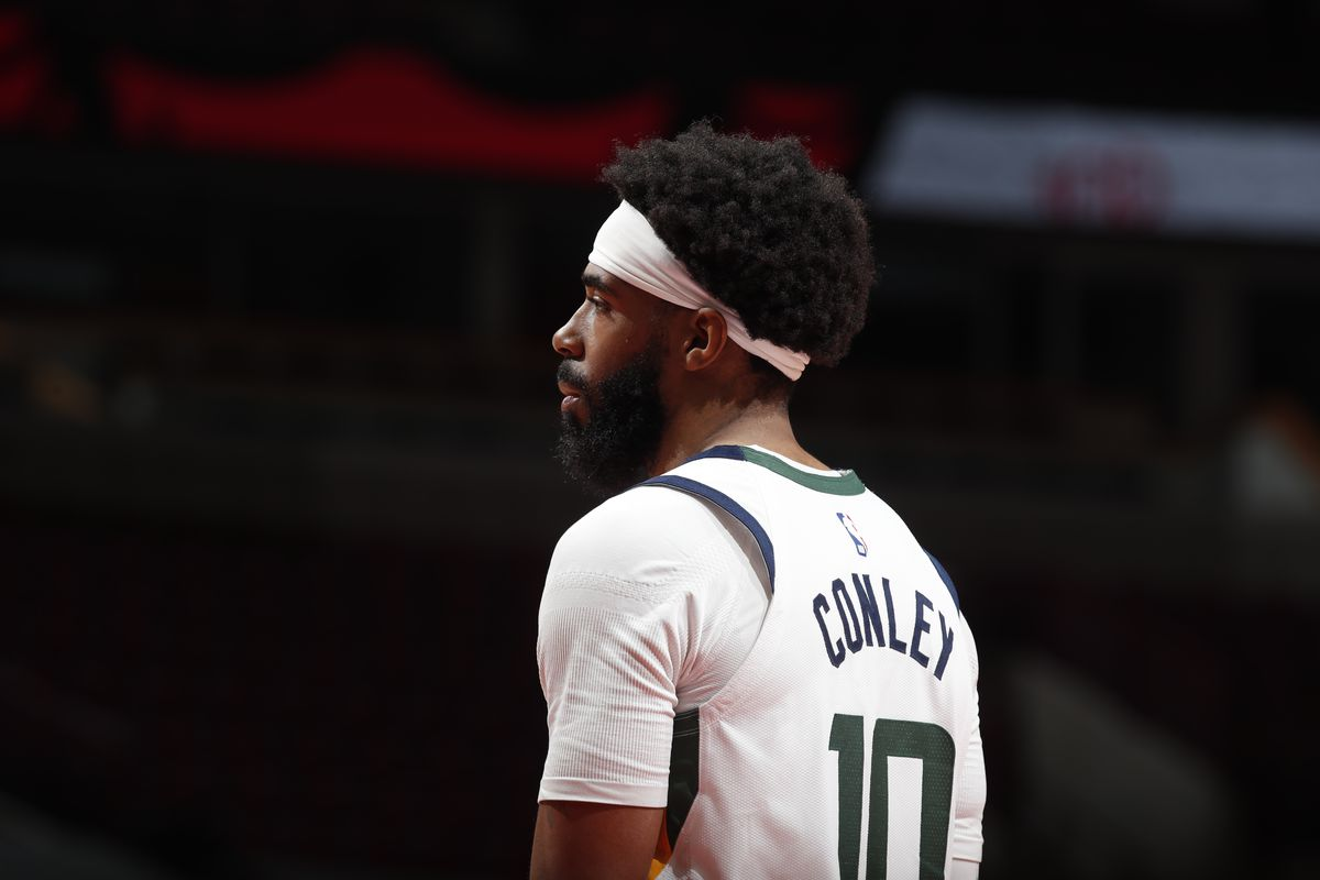Mike Conley #10 of the Utah Jazz looks on during the game against the Chicago Bulls on March 22, 2021 at United Center in Chicago, Illinois.