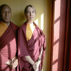 Lama Thupten Dorje Gyaltsen, left, and Jean LaSarre Gardner pose for a portait at Urgyen Samten Ling Gonpa in Salt Lake City. The Tibetan Buddhist temple is hosting a Prayers for Compassion event this weekend.
