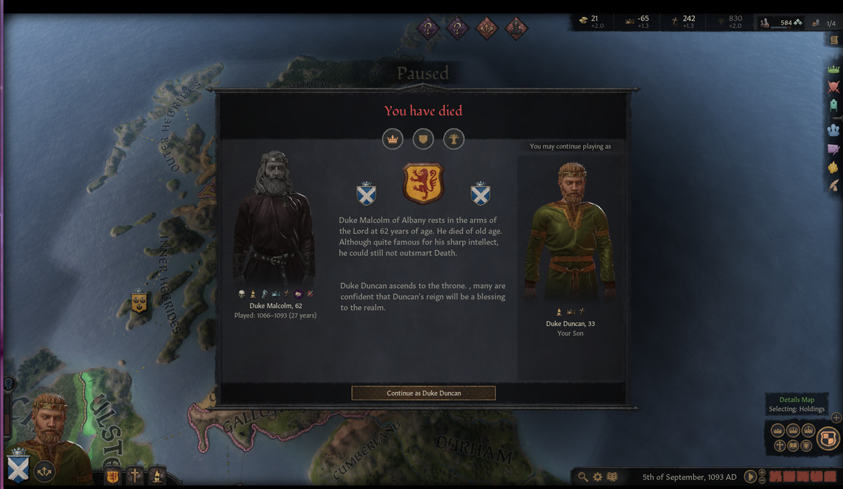 The death screen in Crusader Kings 3