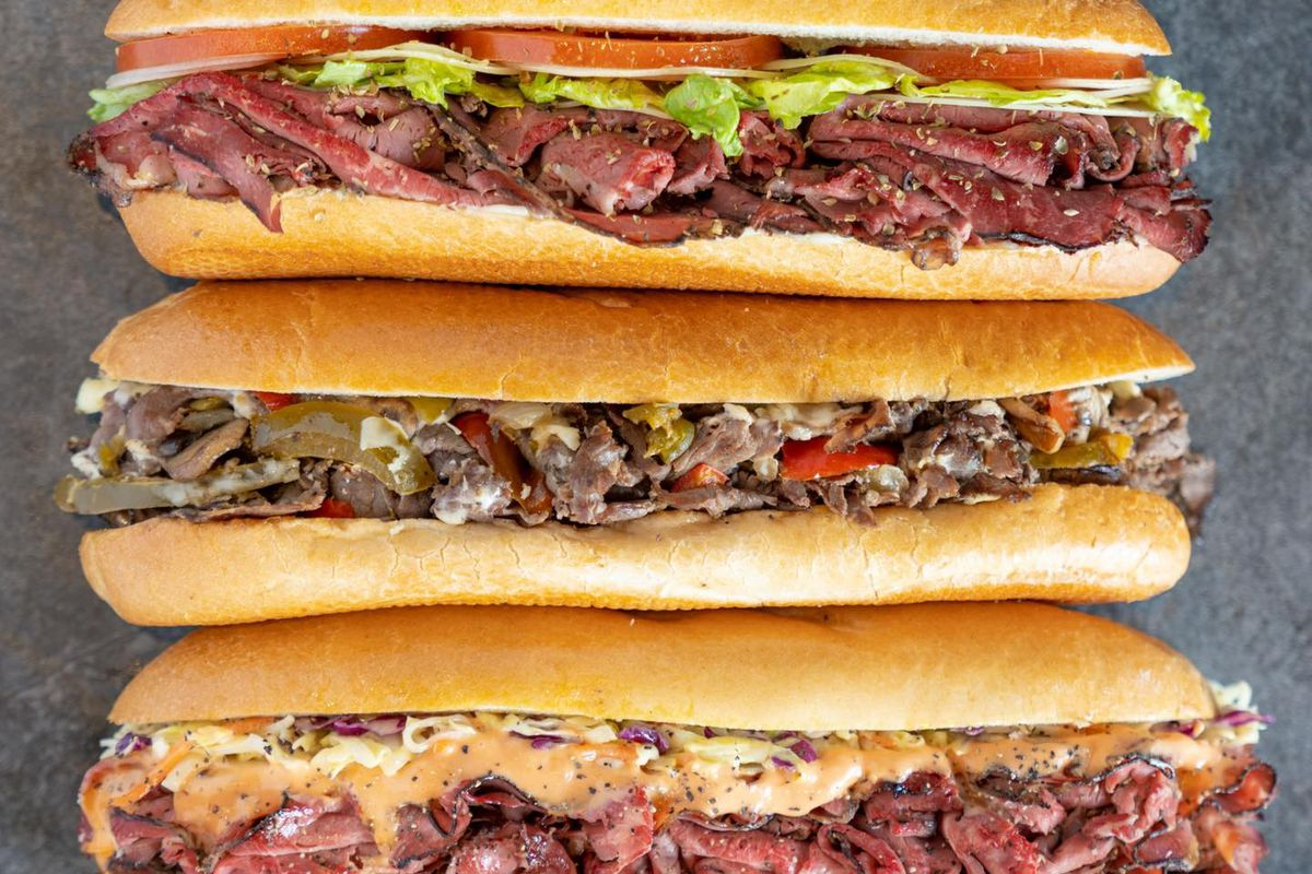 Three subs stacked on top of each other