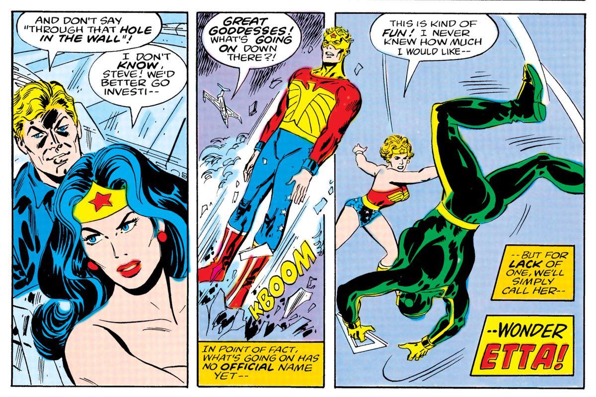 A panel of Wonder Woman meeting Wonder Etta