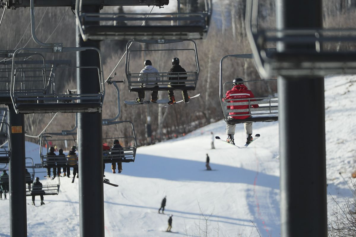 Skiers and snowboarders ride the First Time lift as Park City Mountain Resort in Park City opens for the 2020-21 ski season on Friday, Nov. 20, 2020.