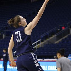 UConn's Katie Lou Samuelson lays the ball in during a drill.