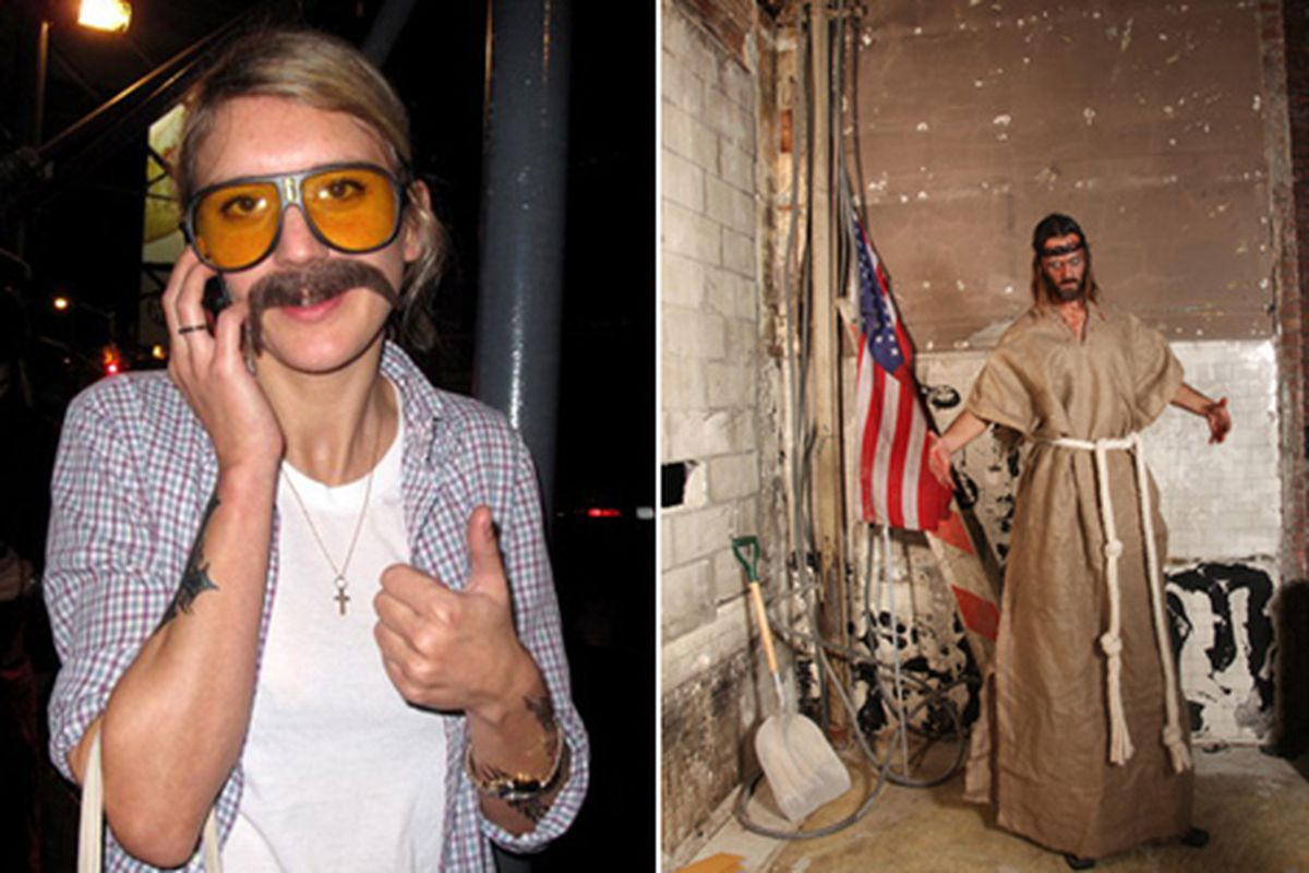 """Stylist/photographer Frances Tulk-Hart as Terry Richardson; designer Rogan Gregory as Jesus. Via <a href=""""http://www.refinery29.com/parties/best_dressed_from_halloween.php"""">Refinery29</a>"""