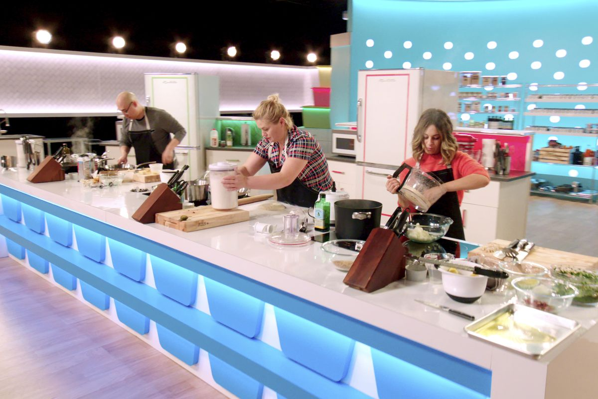 """Jonathan Kim (from left), Alexandra Jones and Melissa Schwimmer compete in Netflix's new food-based reality game show """"Best Leftovers Ever!"""""""