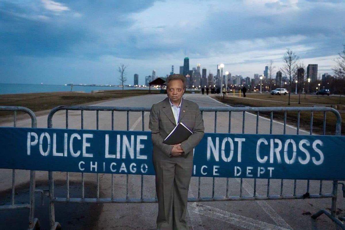 A meme of Mayor Lori Lightfoot guarding the lakefront trail has gone viral.