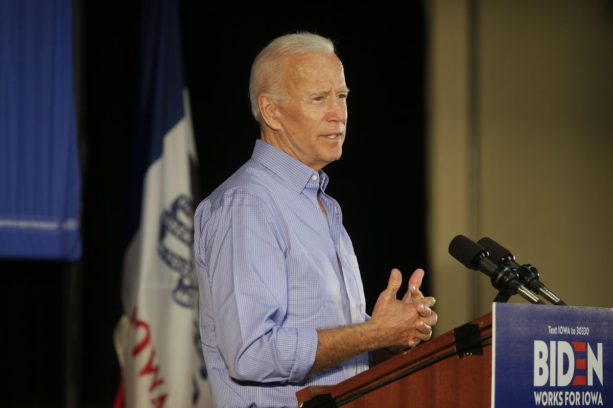 Former Vice President and 2020 presidential candidate Joe Biden speaks during a campaign event on July 4, 2019, in Marshalltown, Iowa.