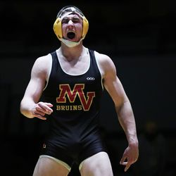 Radi Stafford of Mountain View reacts after winning the 185-pound championship in 5A boys wrestling at Wasatch High in Heber on Thursday, Feb. 18, 2021.